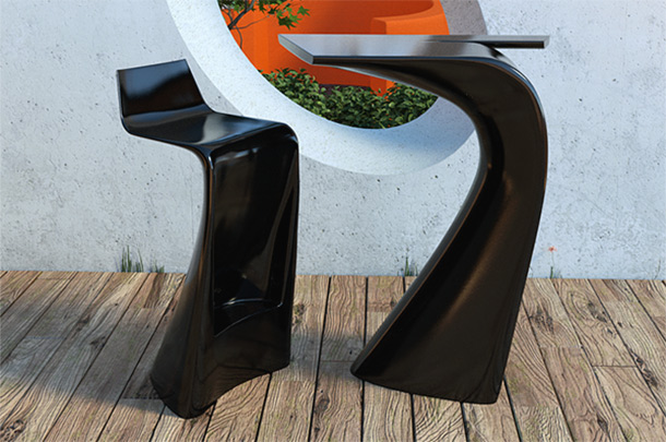Wing stool and table by Vondom.