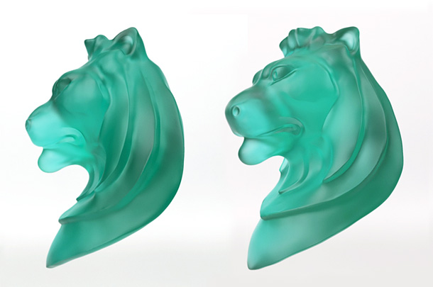 Glass lion sculpture
