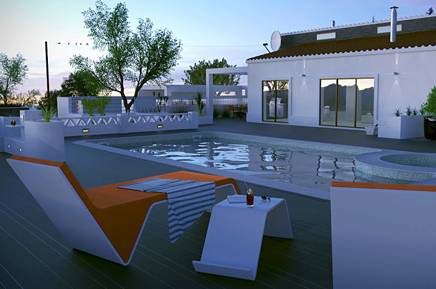 Night scene and lighting test for a Villa design