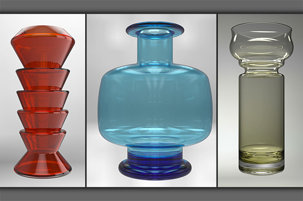 Selection of glass mid-century modern vases